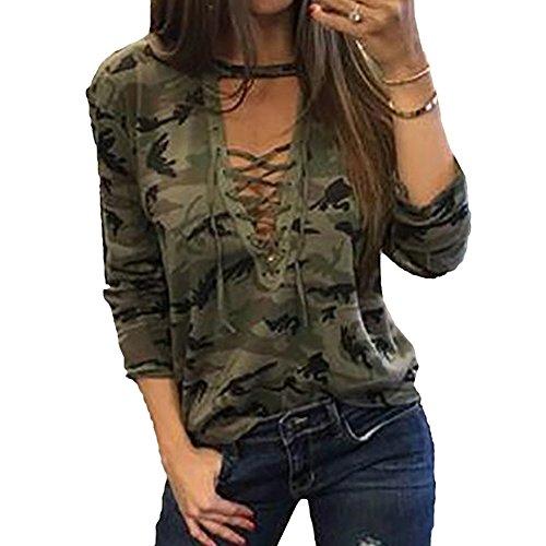 Scothen Atractivo de las señoras camiseta remata la blusa Shell V-cuello manga larga cuello redondo manchado transpirable remata la blusa Tops de gran tamaño Tops estiramiento básica camiseta Green