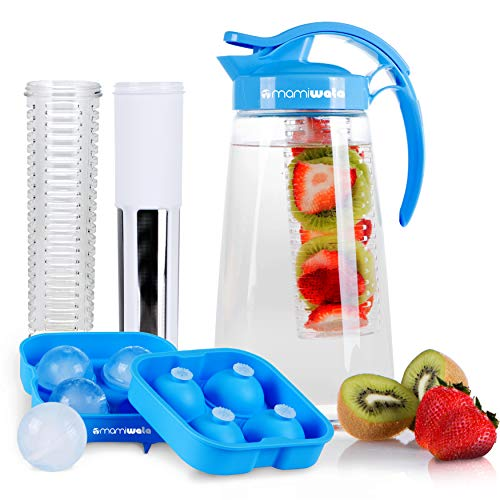 Fruit & Tea Infusion Water Pitcher - The PERFECT Birthday Gift - Free Ice Ball Maker - Free Infused Water Recipe Booklet - Includes Shatterproof Jug, Fruit Infuser, and Tea Infuser ()