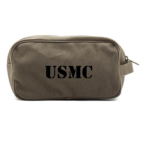 Army Brass Case - USMC United States Marine Corps Text Canvas Shower Kit Travel Toiletry Bag Case in Olive & Black