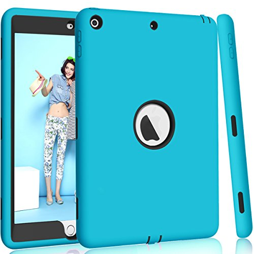 iPad 5th/6th Generation Case, iPad 9.7 2018/2017 Case, Hocase High-Impact Shock Absorbent Dual Layer Silicone+Hard PC Bumper Protective Case for iPad A1893/A1954/A1822/A1823 - Sky Blue / Black