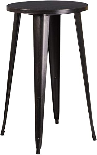 Flash Furniture Commercial Grade 24″ Round Black-Antique Gold Metal Indoor-Outdoor Bar Height Table