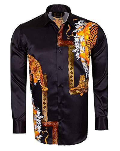 4c654e74ae06 Oscar Banks Tiger Printed Satin Long Sleeved Shirt SL 6546
