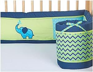 Pam Grace Creations Crib Bumper- Zigzag Elephant