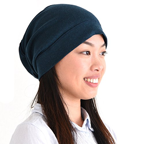 Navy Blue Slouch Hat - CHARM Mens Slouch Beanie Hat - Womens Organic Cotton Slouchy Hipster Chemo Knit Casualbox Navy