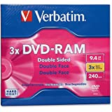 DVD-RAM, 9.4 GB, Type 4, Double-Sided, 3X - 2pc