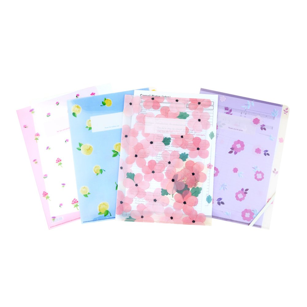 GRACEBELL Hello Jane File Holder 4 Pcs Set Simple Colorful Floral Designed School Office Note Organizers, L Type Folder