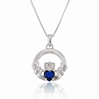 82fe6a6ea Image Unavailable. Image not available for. Color: Chuvora 925 Sterling  Silver Blue Crystal Heart Claddagh Pendant Necklace ...
