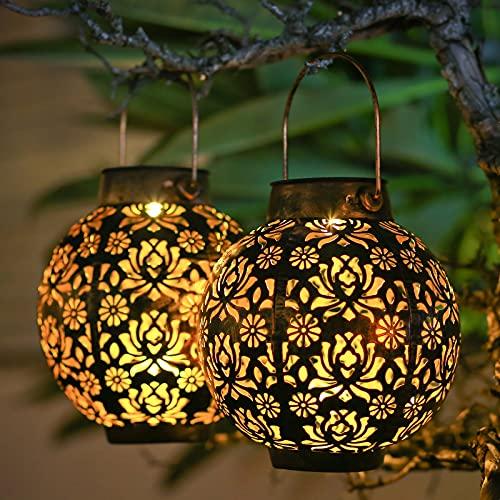 Solar Lanterns Outdoor Waterproof Outdoor Solar Lanterns 2 Pack Outdoor Garden Lights Solar Lanterns Outdoor Decorative for Patio