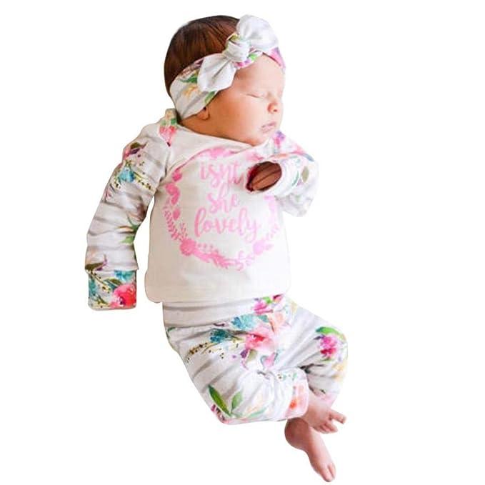 K-youth Ropa Bebe Niña Otoño Invierno Ofertas Infantil Recien Nacido Bebé Niño Camisas Manga Larga Camisetas Blusas Pijama + Floral Pantalones y Diadema ...