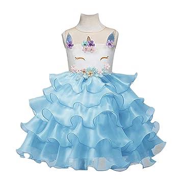 WTDlove Vestidos de niñas, Vestidos de Novia, Vestido de Princesa, Unicornio, Vestido