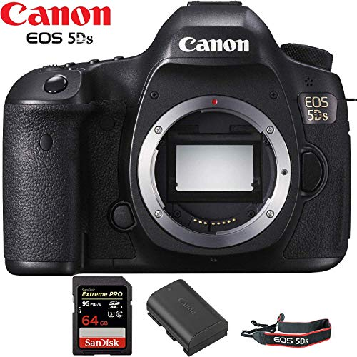 Canon EOS 5DS DSLR Camera (Body Only) International Version Starter Kit + 64GB Memory Card + Battery + Canon Neck Strap Bundle
