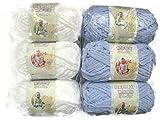 BERNAT Baby Blanket Yarn, 3.5oz, 6-Pack (White/Baby Blue)