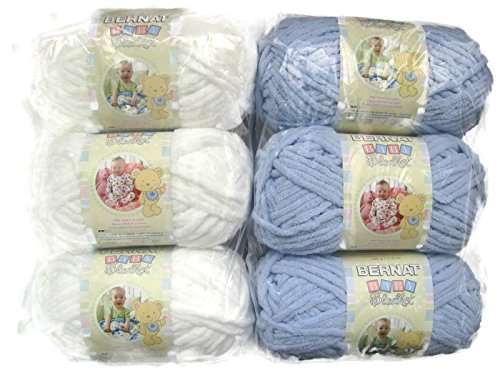 BERNAT Baby Blanket Yarn, 3.5oz, 6-Pack (White/Baby Blue) by Bernat (Image #5)