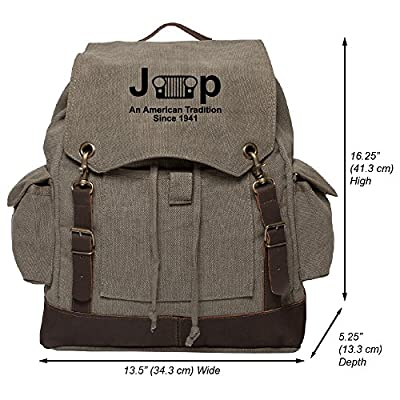 5ede5c396a 30%OFF Jeep An American Tradition Vintage Canvas Rucksack Backpack with  Leather Straps
