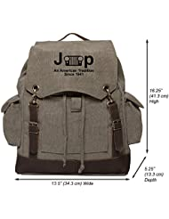 Jeep An American Tradition Vintage Canvas Rucksack Backpack with Leather Straps