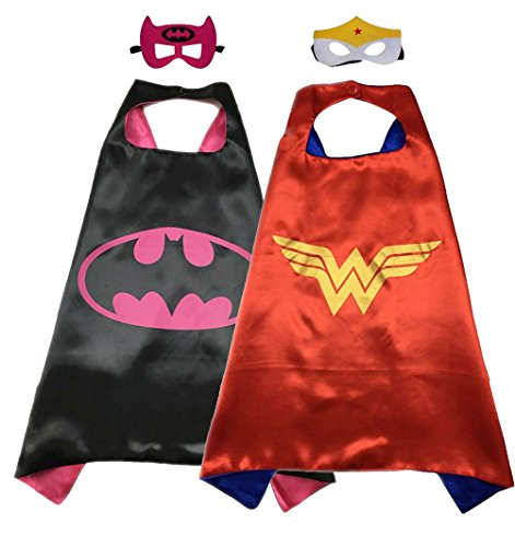 Birthday Present Costume (Superhero Costume Super Hero Cape And Mask Dress Up 2 Set For Kids (Batgirl-Wonder Woman))