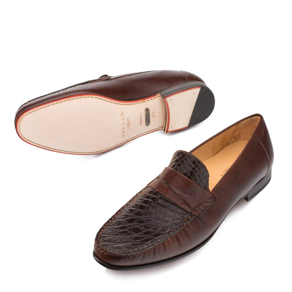 Mezlan SICA Mens Luxury Formal Loafers - Calfskin & Crocodile Slip-On Loafer with Leather Sole - Handcrafted in Spain - Medium Width (10.5, Brown) by Mezlan (Image #4)