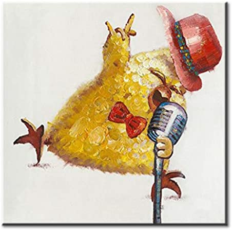 FLY SPRAY Oil Paintings Canvas Wall Art Cool Hipster Cute Yellow Chicken Singing Rock Animal Painting Framed Hand Painted Abstract Artwork for Living Room Children Baby s Bedroom Office Home Decor
