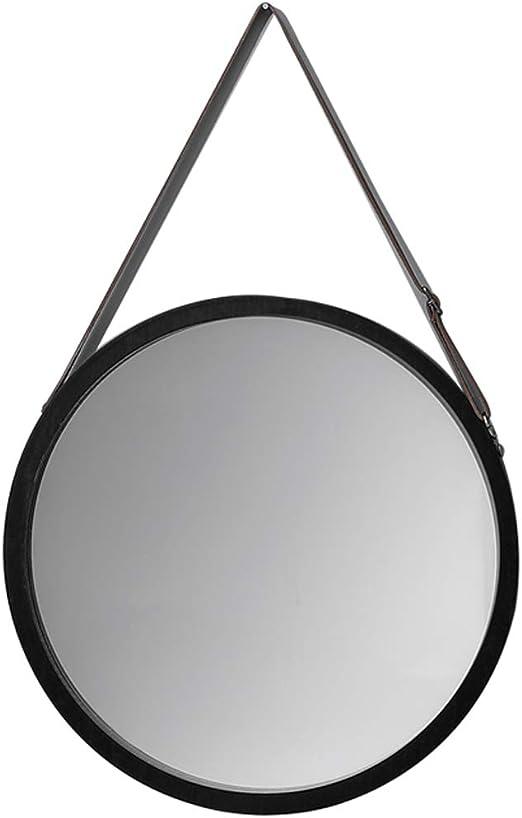 Amazon Com Modern Round Hanging Wall Mirror True Glass Mirror With Adjustable Band Bathroom Lounge Hallway 38x57cm Black Home Kitchen