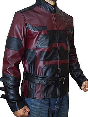Charlie Cox Red DareDevil Leather Jacket Costume, XS