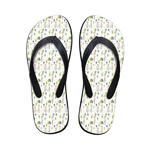 (Baby Beach Flip Flops,Infant Giraffes Flying with Balloons with Polka Dotted Background Newborn Love Hearts for Swimming Pool & Beach,US Size 8)