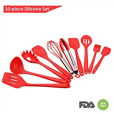 GenKitchen Silicone Cookware 10-Piece Kitchen Utensils Set- Heat Resistant Silicone Spatulas & Spoons- Hygienic Cooking & Baking Utensils - Non-Stick Design- Ergonomic Grip Silicone Tools - Cherry Red from GenKitchen