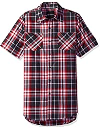 Akademiks Men's Plaid Short Sleeve Button Down Tops