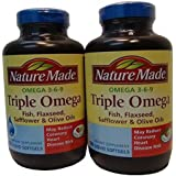 Nature Made Triple Omega 3 6 9 - Fish, Flaxseed, Safflower & Olive Oils - 2 Bottles, 180 Softgels Each