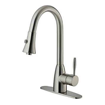 VIGO VG02013STK1 Stainless Steel Pull Out Spray Kitchen Faucet With Deck  Plate