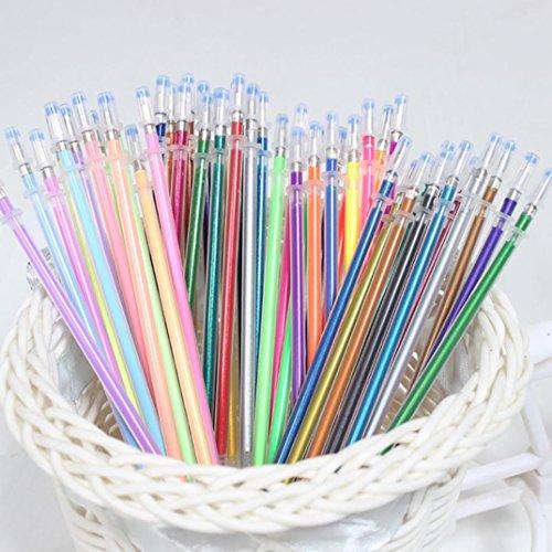 48pcs Colors Gel Pens Set, Gel Pen for Adult Coloring Books Journals Drawing Doodling Art Markers,Pastel Neon Glitter Pen Drawing Colors