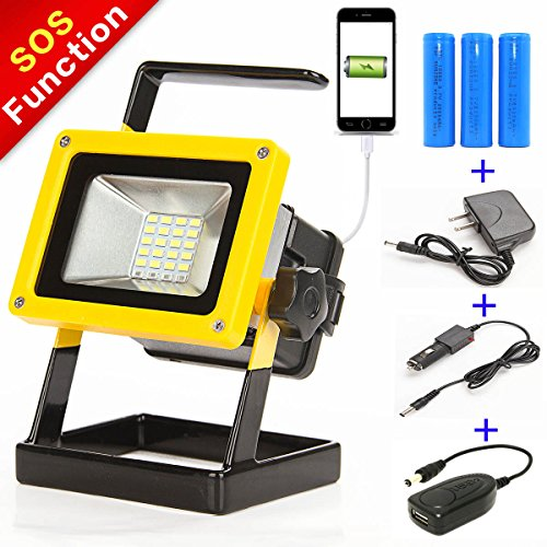 Sunzone 1600Lumens 10W 24LED Portable Outdoor LED Floodlight For Fishing Camping Car Repairing Work Lights Built-in Rechargeable Lithium Batteries with Car Charger and Special SOS Mode (Battery Powered Led Work Lights compare prices)