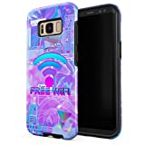 Glitbit Compatible with Samsung Galaxy S8 Plus Case Free WiFi Vaporwave Oldschool Retro 80s 90s Purple Aesthetic Computer Glitch Shockproof Dual Layer Hard Shell + Silicone Protective Cover