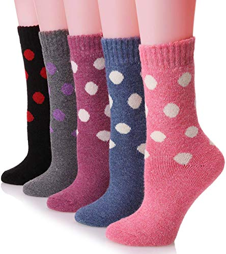 Womens Wool Socks Thick Heavy Thermal Cabin Fuzzy Winter Warm Crew Socks For Cold Weather 5 Pack (Wave dot)
