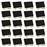 Mini Chalkboards Signs with stand, Dedoot Pack of 20 Wood Rectangle Small Chalkboard Place Cards with easel stand, Perfect for Daily Home Decoration, Weddings, Party, Table Numbers, Food Signs