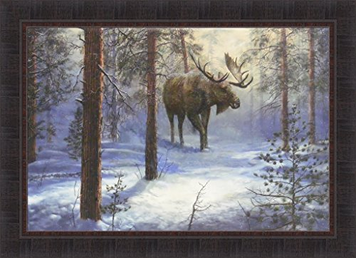 North Country by Jim Hansel 24x33 Bull Moose Snow Winter Framed Art Print - North Country Moose
