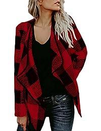 Women Vintage Plaid Lapel Streetstyle Cardigan Jacket Coat Outerwear Tops