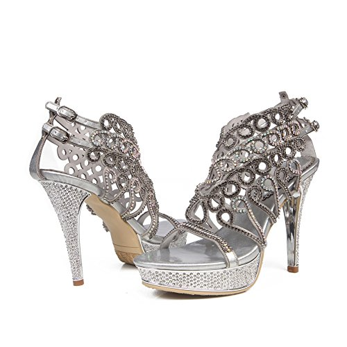 Party Silver Tamaño Señoras Prom Sandalias Zapatos Diamante Strappy Mujeres Mid High Nvxie Low Heel HF8Fwq