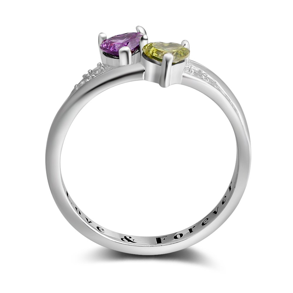 2 Simulated Birthstones Promise Rings for Her Love Forever Engraved Choose Your Color Engagement Rings (Jul-Sep, 7) by Diamondido (Image #5)
