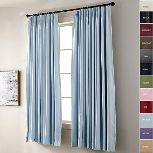 ChadMade Pinch Pleated Curtain 52W x 96L Inch Solid Thermal Insulated Blackout Patio Door Panel Drape For Traverse Rod and Track, Sky Blue (1 (Blue Pleated Drapes)