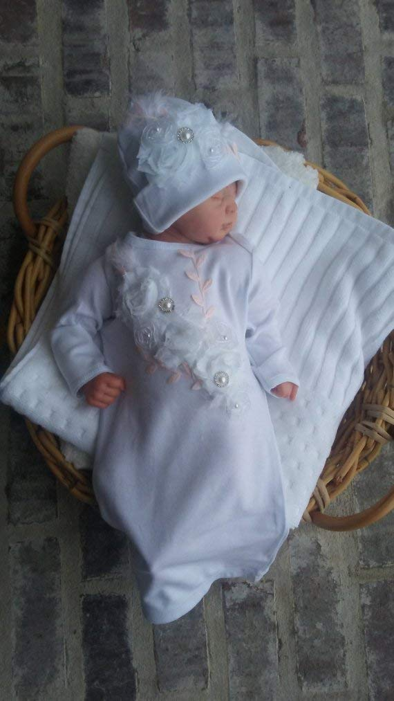 ad0f36cd593 Amazon.com  Newborn Girl Coming Home Outfit Floral Shabby Chic Boho Layette  Gown w Beanie Layette Set Baby Girl Shower Gifts Newborn Hospital Outfit   ...