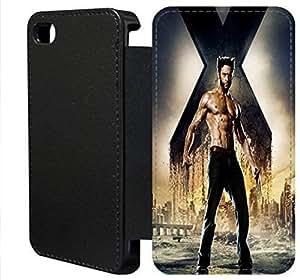 iPhone 4 4s Flip Wallet funda, FKSGFKOOJ0161 lujo moda cuero la PU Flip Wallet funda por iPhone 4 4S (Wolverine)