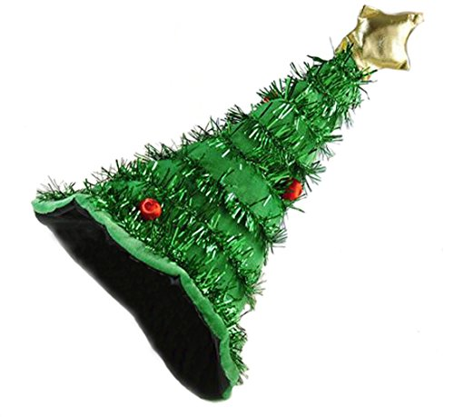 Novelty Christmas Tree Hat Green with Garland & Gold Star For Men or Women