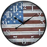 Westclox W32897AF 12 Inch American Flag Wall Clock, 12″ Round, Multi Color Review