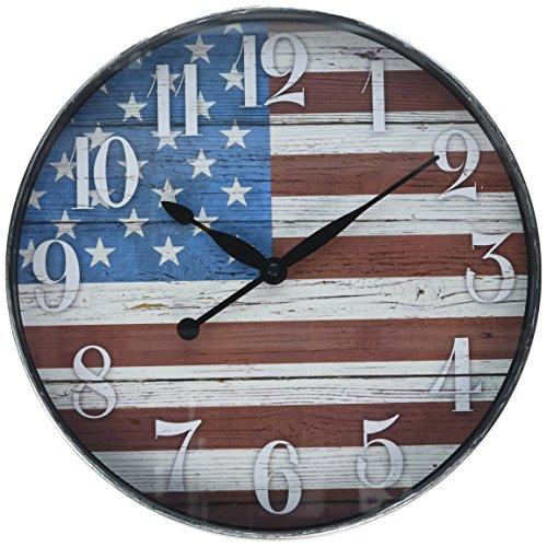 Westclox W32897AF 12 Inch American Flag Wall Clock, 12 Round, Multi Color