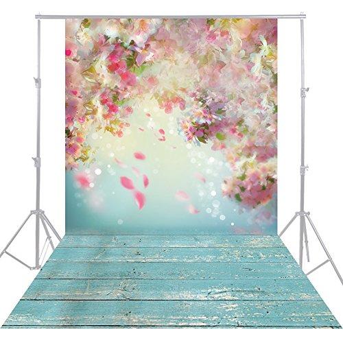 HUAYI 5x10ft Flower wall pink Photography Backgrounds Newborn Photo Studio Green Wood Floor YJ-192 by HUAYI