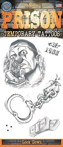 Tinsley Transfers Prison Lock Down Temporary Tattoo FX Costume Kit (5Piece), Black/White -