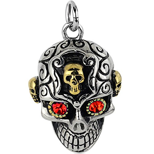 BOHG Jewelry Mens Gothic Tribal CZ Skull Stainless Steel Pendant Necklace Silver Gold Red, 23 inch Chain