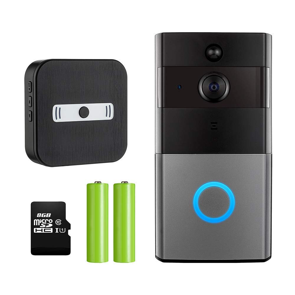 Mbangde Video Doorbell 720P HD WiFi Security Camera with Chime and 8G Memory Storage Real Time Two Way Talk and Video Night Vision PIR Motion Detection App Control for iOS and Android