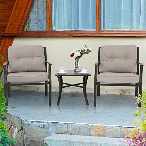 PHI VILLA 3 PC Patio Padded Conversation Set