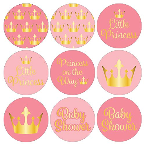 DISTINCTIVS Pink and Gold Princess Girl Baby Shower Favor Stickers, 324 Count -